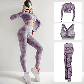 cheap Women's Activewear-Women's Seamless Activewear Set Workout Outfits Yoga Suit Athletic Athleisure 3pcs Fall Long Sleeve High Rise Nylon Quick Dry Breathable Soft Fitness Gym Workout Running Jogging Sportswear Skinny