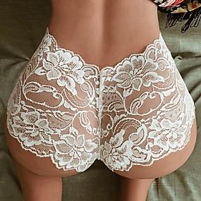 abordables Lencería y ropa interior-Mujer 1 Pieza Encaje Short y Slip de Chico - Normal Baja cintura Blanco Negro S M L