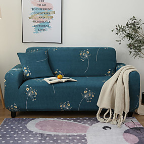 cheap Slipcovers-Floral Print Dustproof All-powerful Slipcovers Stretch Sofa Cover Super Soft Fabric Couch Cover with One Free Pillow Case