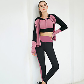 cheap Yoga & Fitness-Women's 3pcs Tracksuit Yoga Suit Winter Thumbhole Color Block Dusty Rose Dusty Blue Fitness Gym Workout Running High Waist Cropped Leggings Bra Top Track Jacket Long Sleeve Sport Activewear Tummy