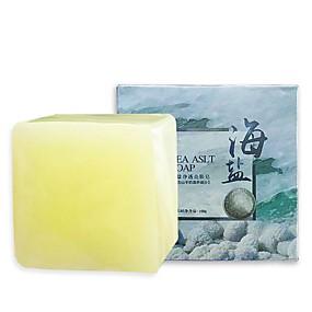 cheap Bathroom Cleaning Supplies-100g Removal Pimple Pore Acne Treatment Sea Salt Soap Cleaner Moisturizing Goat Milk Soap Face Care Wash Basis Soap-2 pcs