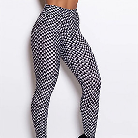 cheap Yoga & Fitness-Women's High Waist Yoga Pants Leggings Tummy Control Butt Lift Quick Dry Black with White Fitness Gym Workout Running Sports Activewear High Elasticity Skinny