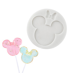 cheap Kitchen-Cartoon mouse chocolate mold fondant cake silicone mold handmade lollipop mold