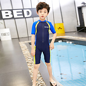 cheap Surfing, Swimming & Diving-Boys' Girls' Rash Guard Dive Skin Suit Elastane Swimwear UV Sun Protection Quick Dry Breathable Short Sleeve Front Zip - Swimming Water Sports Patchwork Summer / High Elasticity / Kid's