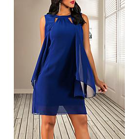 cheap Women's Dresses-Women's Mini Sheath Dress - Sleeveless Solid Colored Purple Red Navy Blue S M L XL XXL XXXL XXXXL XXXXXL
