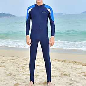 cheap Surfing, Swimming & Diving-Men's Rash Guard Dive Skin Suit Top Bottoms UV Sun Protection Quick Dry Full Body 2 Piece Front Zip - Swimming Diving Surfing Snorkeling Patchwork Spring Summer