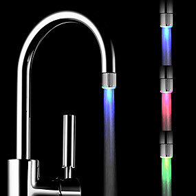 cheap Faucets-LED Light Water Faucet Tap Heads Temperature Sensor RGB Glow LED Shower Stream Bathroom Shower faucet 3 Color Changing