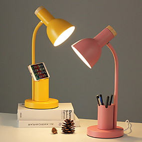 cheap Lamps & Lamp Shades-Nordic Style Desk Lamp Indoor Reading Light Metal Adjustable 90-240V Multifunction lamp with Pen Holder Yellow Desk Lamp Blush Pink Lamp Grass-green Lamp