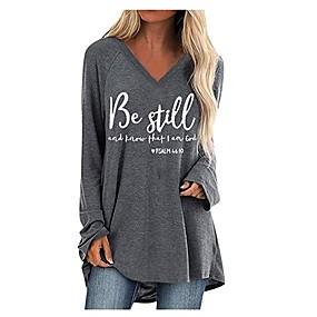cheap Women-Women's Plus Size T shirt Letter Long Sleeve V Neck Tops Cotton Black Wine Camel