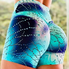 cheap Yoga & Fitness-Women's High Waist Yoga Shorts Scrunch Butt Ruched Butt Lifting Shorts Tummy Control Butt Lift Quick Dry Blue Elastane Fitness Gym Workout Running Sports Activewear Stretchy Slim