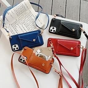 billige Telefoner og tilbehør-Etui Til Apple iPhone 11 / iPhone 11 Pro / iPhone 11 Pro Max Lommebok / Kortholder Bakdeksel Ensfarget PU Leather / PC