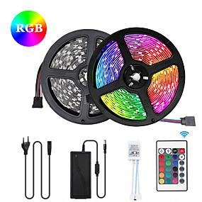 povoljno Svjetlosne trake i žice-2x5M Savitljive LED trake Setovi svjetala RGB svjetleće trake 300 LED diode SMD5050 10mm 1 12V 6A adapter 1 24Ključuje daljinski upravljač 1set Više boja Vodootporno Cuttable Party 85-265 V