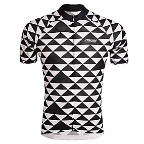 cheap Cycling & Motorcycling-21Grams Men's Short Sleeve Cycling Jersey Summer Spandex Polyester Black+White Plaid Checkered Solid Color Bike Jersey Top Mountain Bike MTB Road Bike Cycling UV Resistant Quick Dry Breathable Sports