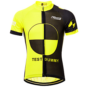 cheap Cycling & Motorcycling-21Grams Men's Short Sleeve Cycling Jersey Summer Black / Yellow Novelty Funny Bike Top Mountain Bike MTB Road Bike Cycling UV Resistant Quick Dry Moisture Wicking Sports Clothing Apparel / Athleisure
