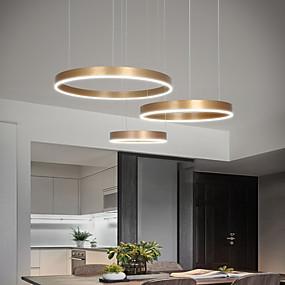 billige Nyheter-led90w pendellampe moderne lamper gullmalt aluminiums sirkelbelysning for spisestue stue