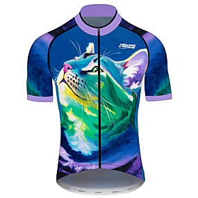 cheap Cycling & Motorcycling-21Grams Men's Short Sleeve Cycling Jersey Summer Dark Blue Cat Animal Bike Jersey Top Mountain Bike MTB Road Bike Cycling UV Resistant Quick Dry Breathable Sports Clothing Apparel / Stretchy