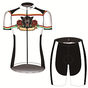 cheap Cycling & Motorcycling-21Grams Women's Short Sleeve Cycling Jersey with Shorts Summer Spandex Polyester Black+White Lion Rose Animal Bike Clothing Suit 3D Pad Ultraviolet Resistant Quick Dry Breathable Back Pocket Sports