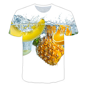 cheap Athleisure Wear-Men's T shirt Color Block 3D Fruit Plus Size Print Short Sleeve Daily Tops Basic Exaggerated Rainbow