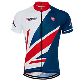 cheap Cycling & Motorcycling-21Grams Men's Short Sleeve Cycling Jersey Summer Sky Blue+White UK National Flag Bike Top Mountain Bike MTB Road Bike Cycling UV Resistant Quick Dry Moisture Wicking Sports Clothing Apparel