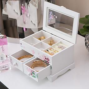 cheap Accessories-Square Jewelry Box - Wooden White 17 cm 12.2 cm 11.3 cm