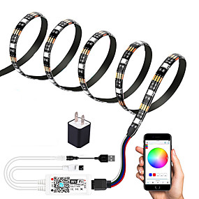 cheap WiFi Control-2m WIFI Control Kit Flexible LED Light Strips Light Sets RGB Tiktok Lights TV Background Lights 60 LEDs SMD5050 10mm 1 set Multi Color Waterproof APP Control USB US EU 5 V