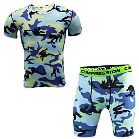 cheap Running & Jogging-JACK CORDEE Men's 2 Piece Activewear Set Workout Outfits Compression Suit Athletic Athleisure Short Sleeve Thermal Warm Breathable Soft Gym Workout Running Active Training Jogging Sportswear Army