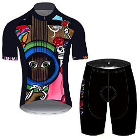cheap Cycling & Motorcycling-21Grams Men's Short Sleeve Cycling Jersey with Shorts Summer Black / Red Sugar Skull Skull Floral Botanical Bike Clothing Suit UV Resistant 3D Pad Quick Dry Breathable Reflective Strips Sports Sugar