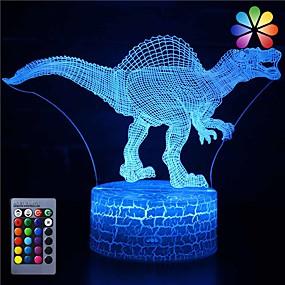 halpa Sisustus & yövalo-Kolmiulotteinen dinosaurus yövalo illuusiolamppu 16 värinmuutoskoristelamppu kaukosäätimellä olohuonebaariin parhaat lahjalelut pojille tytöille
