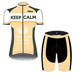 cheap Cycling & Motorcycling-21Grams Women's Short Sleeve Cycling Jersey with Shorts Summer Spandex Polyester Orange+White Stripes Novelty Crown Bike Clothing Suit Ultraviolet Resistant Quick Dry Breathable Back Pocket Sweat