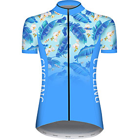 cheap Cycling & Motorcycling-21Grams Women's Short Sleeve Cycling Jersey Summer Blue Gradient Leaf Floral Botanical Bike Jersey Top Mountain Bike MTB Road Bike Cycling UV Resistant Quick Dry Breathable Sports Clothing Apparel