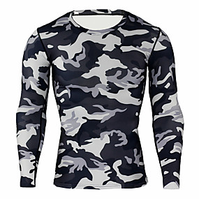 cheap Running & Jogging-JACK CORDEE Men's Long Sleeve Compression Shirt Running Shirt Running Base Layer Top Athletic Winter Moisture Wicking Breathable Soft Running Active Training Jogging Sportswear Camo / Camouflage