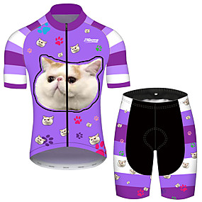 cheap Cycling & Motorcycling-21Grams Men's Short Sleeve Cycling Jersey with Shorts Summer Spandex Polyester Lavender Cat Solid Color Animal Bike Clothing Suit UV Resistant Quick Dry Breathable Back Pocket Sweat wicking Sports Cat