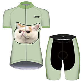 cheap Cycling & Motorcycling-21Grams Women's Short Sleeve Cycling Jersey with Shorts Summer Spandex Polyester Black / Green Cat Solid Color Animal Bike Clothing Suit Ultraviolet Resistant Quick Dry Breathable Back Pocket Sweat