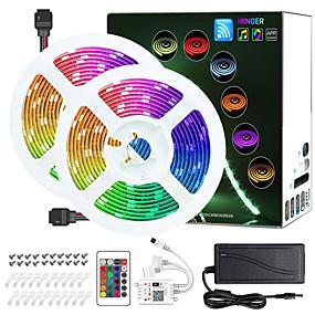 cheap WiFi Control-2 X 5M WIFI Smart LED Strip Lights Kit RGB Tiktok Lights 5050 Tape Light Work with Alexa Google Home WiFi Wireless Smart Phone Controlled LED Set 32.8ft 300 LEDs Rope Light 12V 4A Power Supply