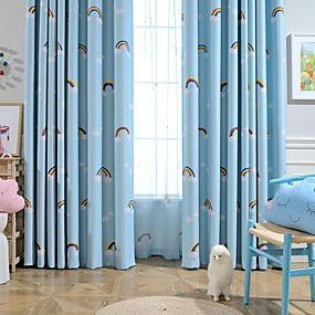 cheap Curtains & Drapes-Two Panel Children's Room Cartoon Style Thermal Insulation Rainbow Printing Blackout Curtains