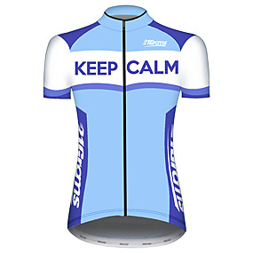 cheap Cycling & Motorcycling-21Grams Women's Short Sleeve Cycling Jersey Summer Spandex Polyester Blue+White Patchwork Novelty Bike Jersey Top Mountain Bike MTB Road Bike Cycling UV Resistant Quick Dry Breathable Sports Clothing
