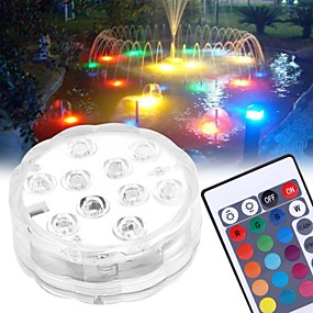 cheap Outdoor Lighting-10 LED Submersible Lights Remote Controlled RGB Changing Underwater Waterproof Lights for Swimming Pool Fountain Aquarium Vase Hot Tub Bathtub Party Decor Lighting 1PCS