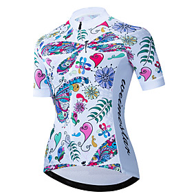 cheap Cycling & Motorcycling-21Grams Women's Short Sleeve Cycling Jersey Summer Spandex Polyester Blue+White Butterfly Floral Botanical Bike Jersey Top Mountain Bike MTB Road Bike Cycling UV Resistant Quick Dry Breathable Sports