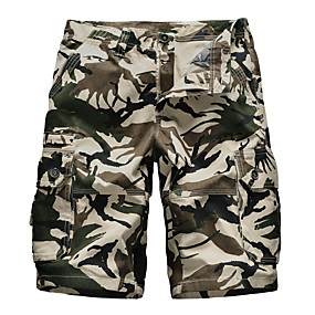 """cheap Camping, Hiking & Backpacking-Men's Hiking Shorts Hiking Cargo Shorts Military Camo Summer Outdoor 10"""" Standard Fit Ripstop Ultra Light (UL) Multi-Pockets Breathable Cotton Knee Length Shorts Bottoms Dark Grey Army Green Grey"""