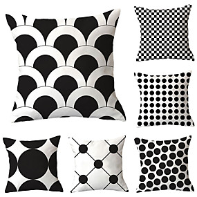 cheap Slipcovers-Set of 6 Polyester Pillow Cover, Polka Dot Geometric Simple Classic Square Traditional Classic Throw Pillow