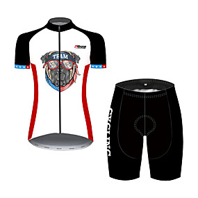 cheap Cycling & Motorcycling-21Grams Women's Short Sleeve Cycling Jersey with Shorts Summer Spandex Polyester Black+White Dog American / USA National Flag Bike Clothing Suit Ultraviolet Resistant Quick Dry Breathable Back Pocket