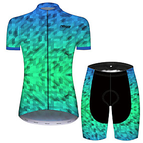 cheap Cycling & Motorcycling-21Grams Women's Short Sleeve Cycling Jersey with Shorts Summer Spandex Polyester Black / Green Plaid Checkered Solid Color Geometic Bike Clothing Suit Ultraviolet Resistant Quick Dry Breathable Back