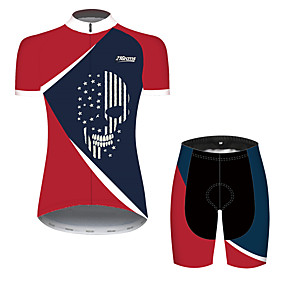cheap Cycling & Motorcycling-21Grams Women's Short Sleeve Cycling Jersey with Shorts Summer Spandex Polyester Red+Blue Sugar Skull Skull American / USA Bike Clothing Suit Ultraviolet Resistant Quick Dry Breathable Back Pocket