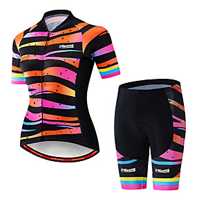 cheap Cycling & Motorcycling-21Grams Women's Short Sleeve Cycling Jersey with Shorts Summer Spandex Polyester Black / Orange Rainbow Stripes Gradient Bike Clothing Suit 3D Pad Ultraviolet Resistant Quick Dry Breathable Back