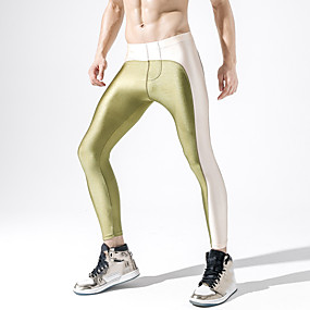 cheap Running & Jogging-Men's Running Tights Leggings Compression Pants Athletic Base Layer Tights Leggings Patchwork Nylon Winter Gym Workout Running Active Training Jogging Moisture Wicking Quick Dry Breathable Normal