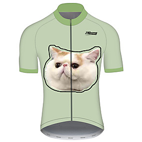cheap Cycling & Motorcycling-21Grams Men's Short Sleeve Cycling Jersey Summer Spandex Polyester Green Cat Funny Animal Bike Jersey Top Mountain Bike MTB Road Bike Cycling UV Resistant Quick Dry Breathable Sports Clothing Apparel