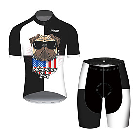 cheap Cycling & Motorcycling-21Grams Men's Short Sleeve Cycling Jersey with Shorts Summer Black+White Dog American / USA National Flag Bike Clothing Suit UV Resistant Quick Dry Breathable Back Pocket Sweat wicking Sports Dog