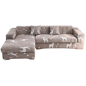 cheap Slipcovers-Milu Deer Print Dustproof All-powerful Slipcovers Stretch Sofa Cover Super Soft Fabric Couch Cover with One Free Pillow Case