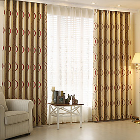 cheap Curtains & Drapes-Two Panel Modern Minimalist Style Striped Jacquard Living Room Bedroom Blackout Curtains