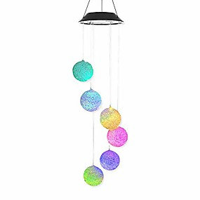 cheap LED Solar Lights-1pcs Solar Garden Light Outdoor Lighting particle sphere Solar Powered LED Wind Chime Hummingbird Wind Chime Color-Changing Waterproof for Patio Yard